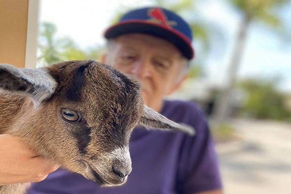 LaPorte Farms visits seniors at Pelican Landing Assisted Living