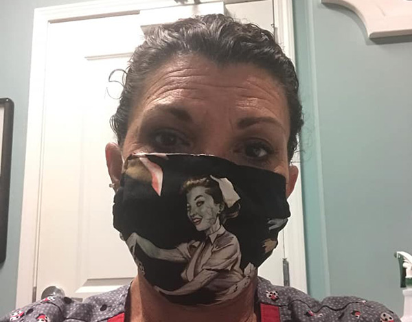 Medical masks made by Samantha Burns.