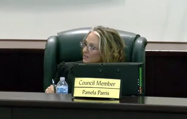 Councilwoman Pamela Parris tries to take credit for seagrass in the lagoon.