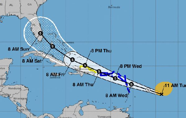 5-day tracking released by National Hurricane Center.