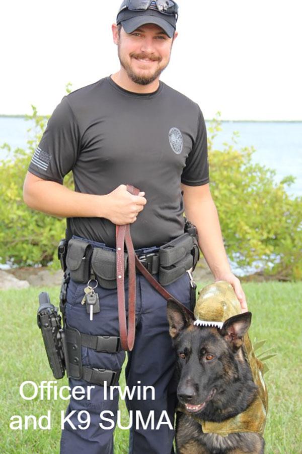 Sebastian Police Officer Irwin with K9 Suma.