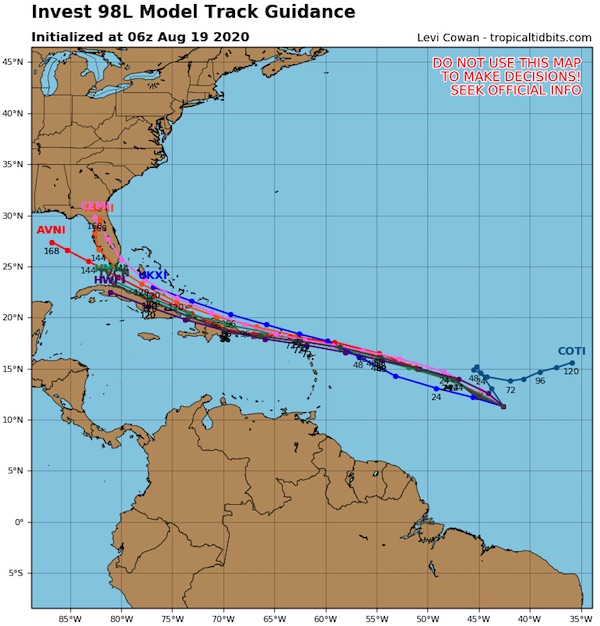 98L tracking shows path near Florida.