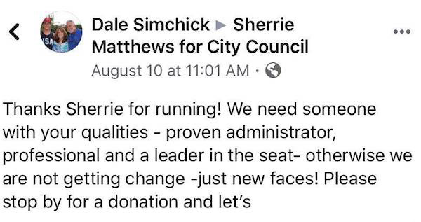 Dale Simshick message to another candidates.