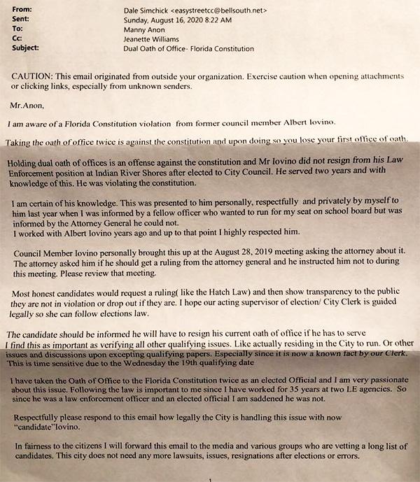 Dale Simchick letter