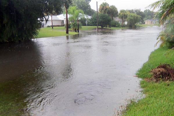 Flooding in Sebastian, Florida.