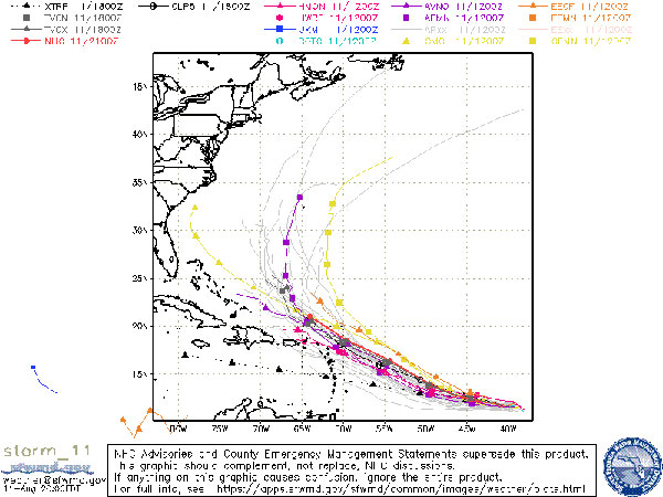 Spaghetti models for tropical depression 11.