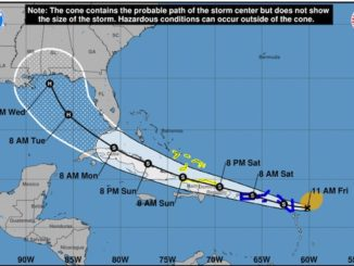 Tropical Storm Laura path and tracking.