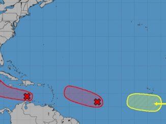 Three disturbances in the tropics.