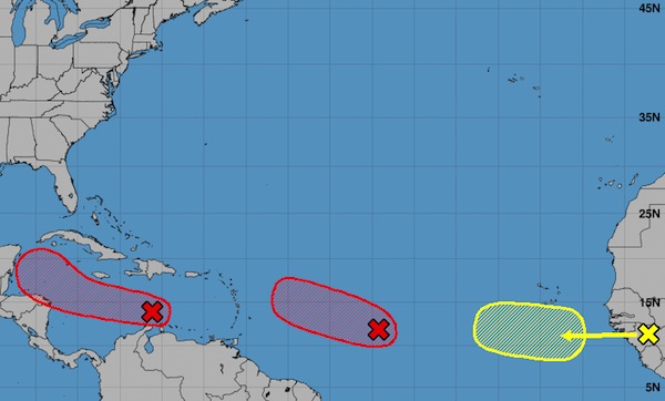 Three disturbances in the tropics.