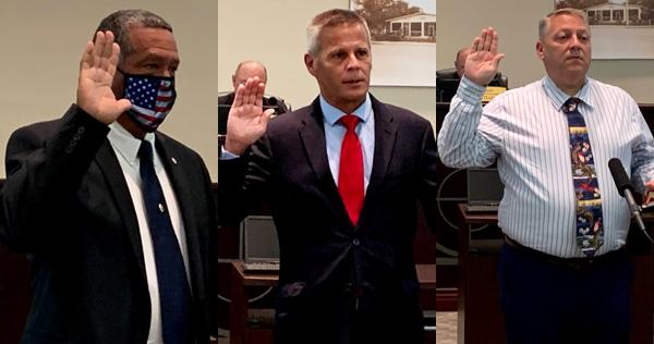 New Council members Fred Jones, Bob McPartlan, and Christopher Nunn.