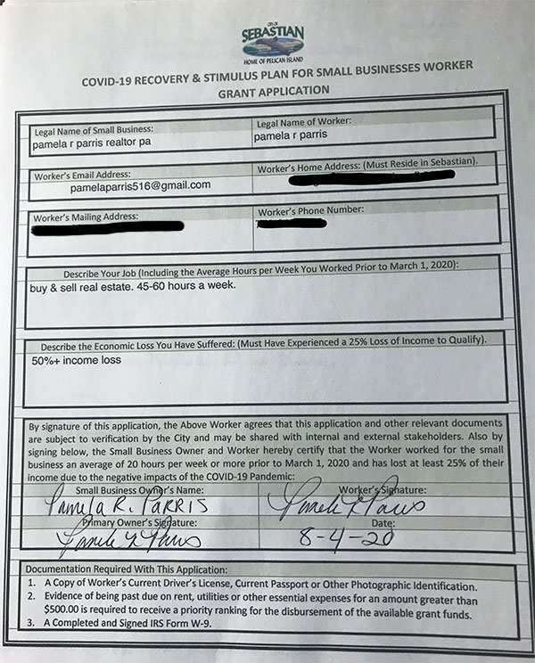 Grant application filed by Pamela Parris.