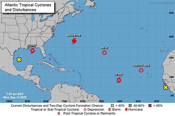 Several tropical cyclones and disturbances currently in the Atlantic and Gulf of Mexico.