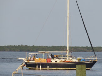 A sailboat in the water in Sebastian. Warmer temps are coming.