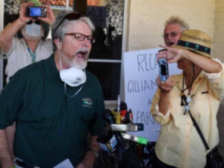 Damien Gilliams (left), Diana Bolton (right, with camera supporting Gilliams), Bob Stephens (back, with camera).