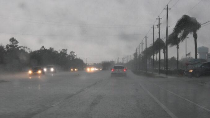 Rain storm brings high winds and downpours in Sebastian, Florida.