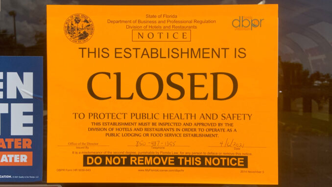 A notice from the state health department showing Wendy's was shut down.