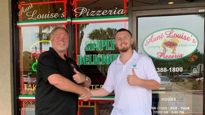 Dave Siperek (left) for Aunt Louise's Pizzeria and Andrew Morrison (right) for Blue River Delivery.