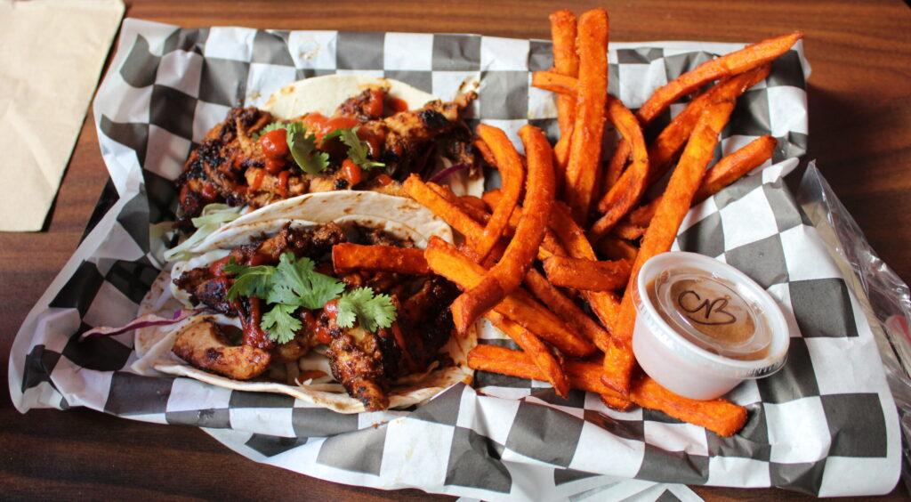 Ski's (OMG) Korean Chicken Tacos with sweet potato fries