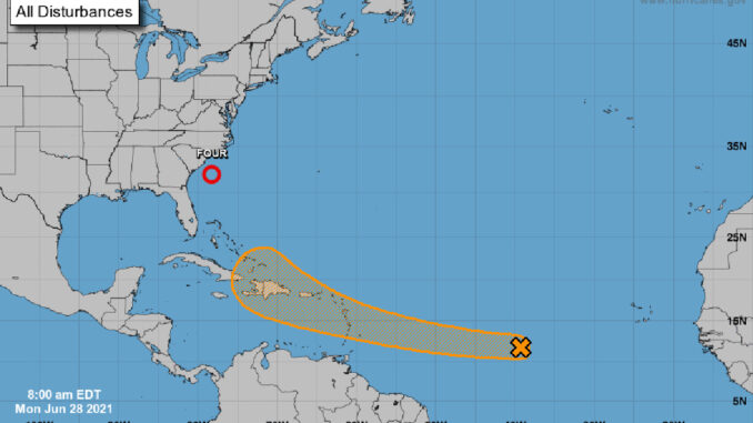 Two tropical disturbances in the Atlantic.