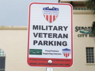Military Veteran Parking sign at Sebastian City Hall.