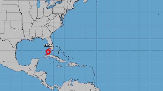 Tropical Storm Elsa near Florida.