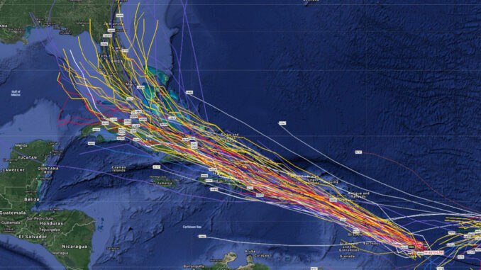 Latest spaghetti models of potential tropical storm.