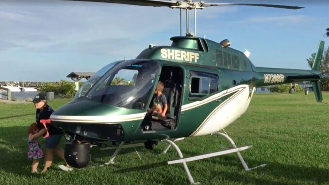 Indian River Sheriff's Office helicopter in Sebastian during community night out.